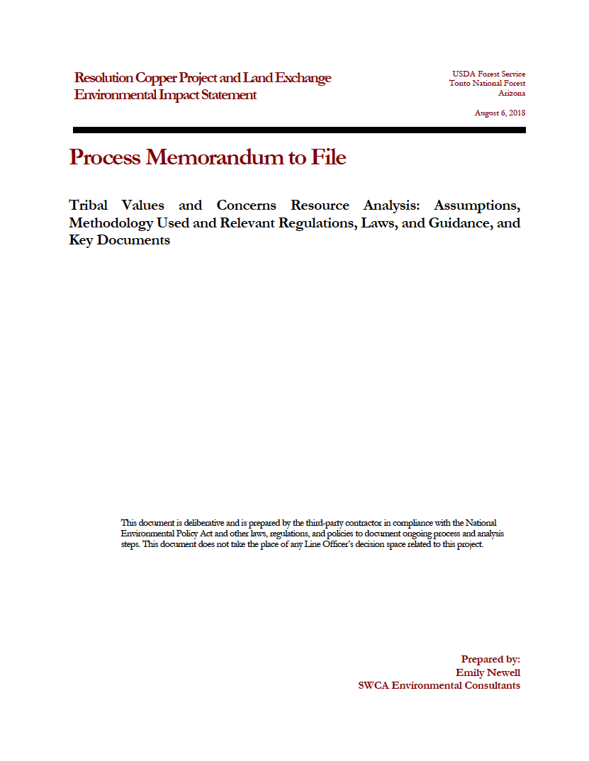 Thumbnail image of document cover: Tribal Values and Concerns Resource Analysis: Assumptions, Methodology Used and Relevant Laws, and Guidance, and Key Documents
