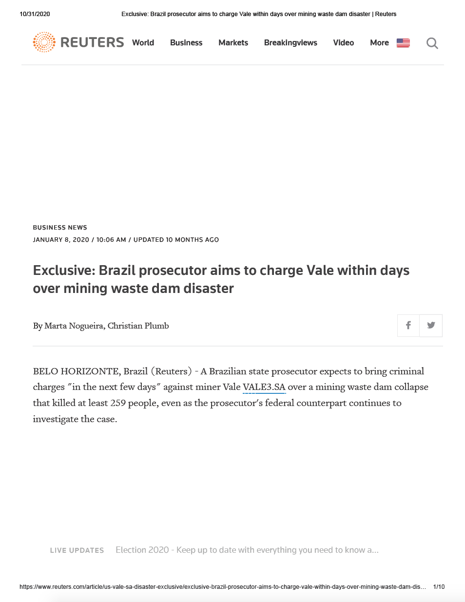Thumbnail image of document cover: Exclusive: Brazil Prosecutor Aims to Charge Vale Within Days Over Mining Waste Dam Disaster