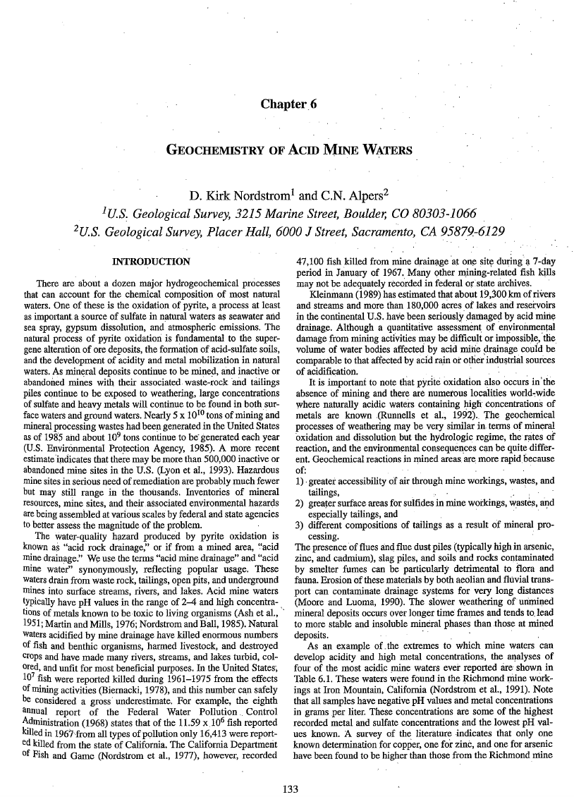 Thumbnail image of document cover: Geochemistry of Acid Mine Waters