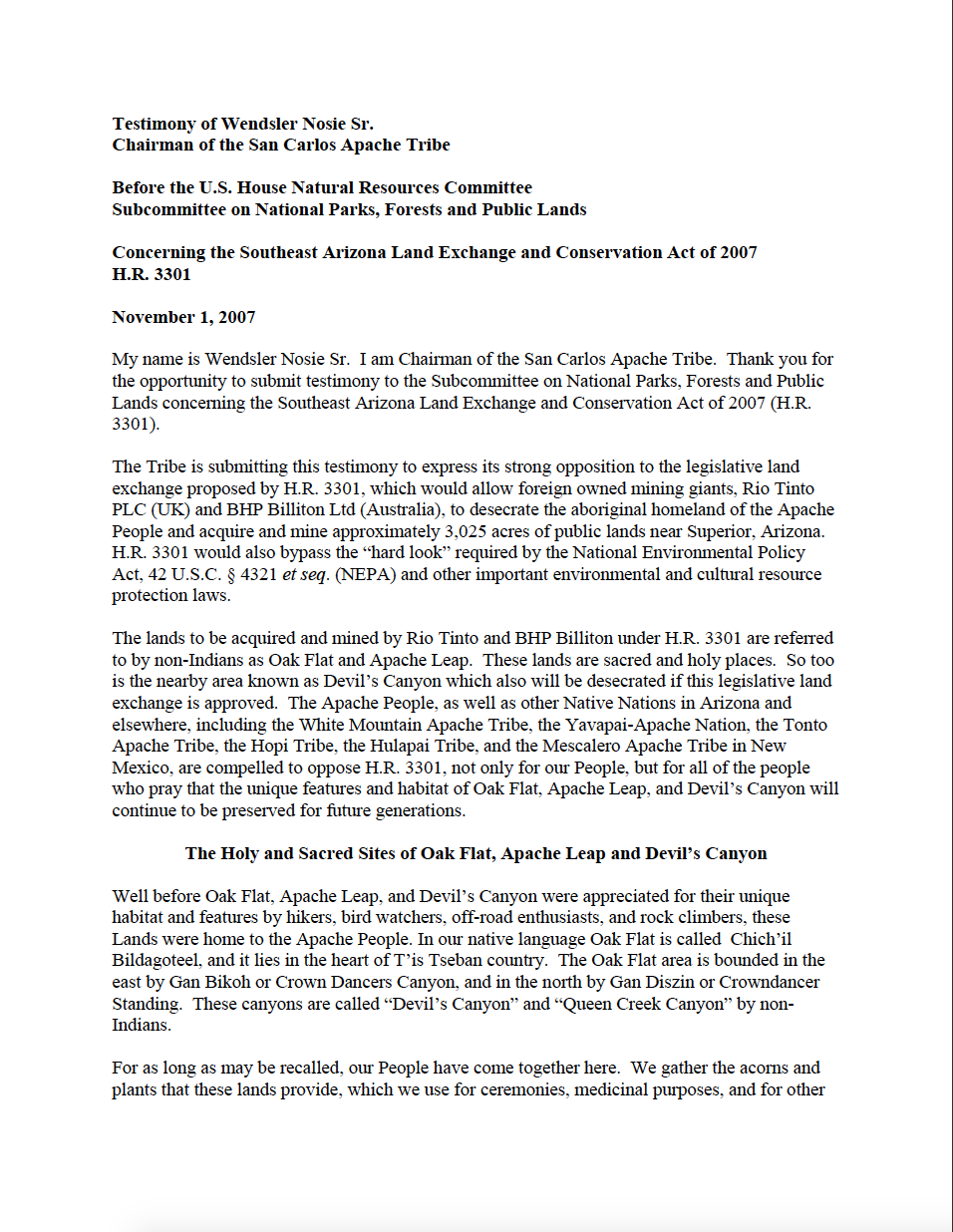 Thumbnail image of document cover: Testimony Before the U.S. House Natural Resources Committee, Subcommittee on National Parks, Forests and Public Lands: Concerning the Southeast Arizona Land Exchange and Conservation Act of 2007 H.R. 3301