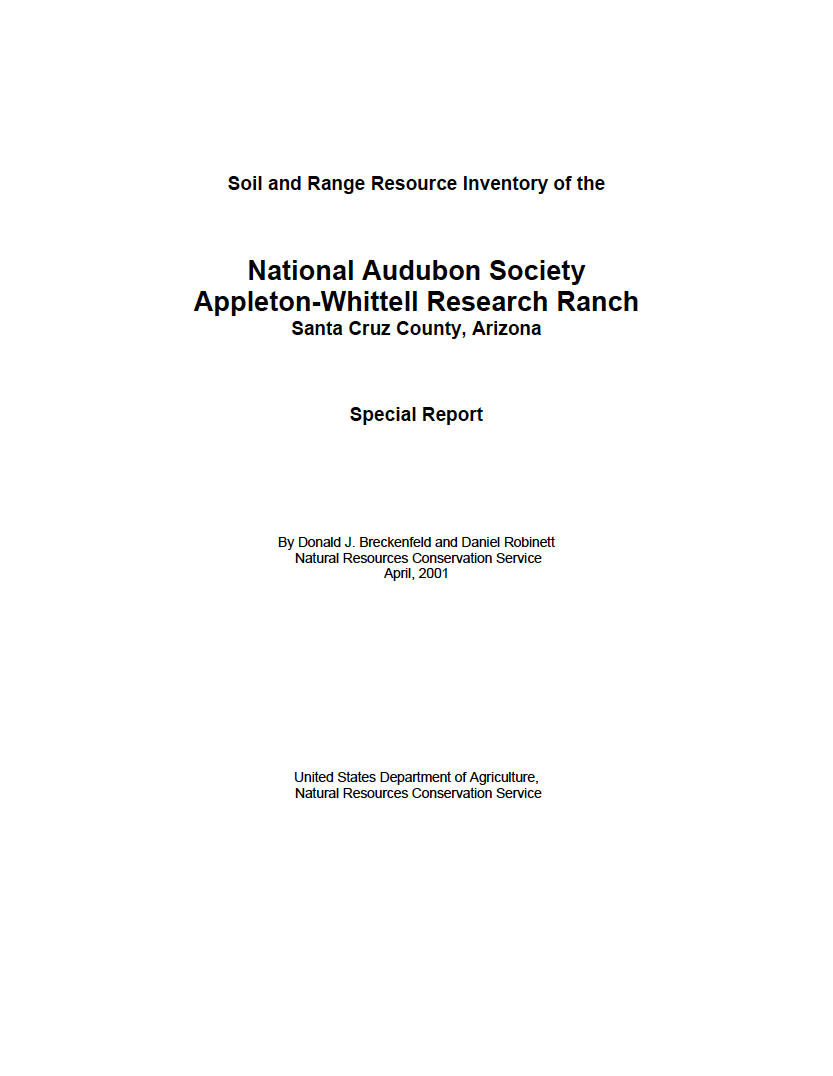 Thumbnail image of document cover: Soil and Range Resource Inventory of the National Audubon Society Appleton-Whittell Research Ranch, Santa Cruz County, Arizona