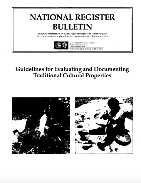 Thumbnail image of document cover: Guidelines for Evaluating and Documenting Traditional Cultural Properties