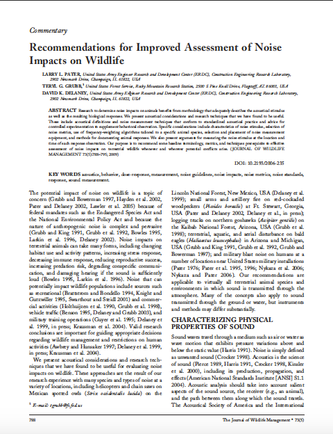 Thumbnail image of document cover: Recommendations for Improved Assessment of Noise Impacts on Wildlife