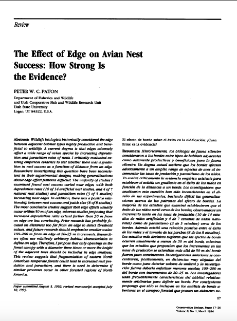 Thumbnail image of document cover: The Effect of Edge on Avian Nest Success: How Strong is the Evidence?