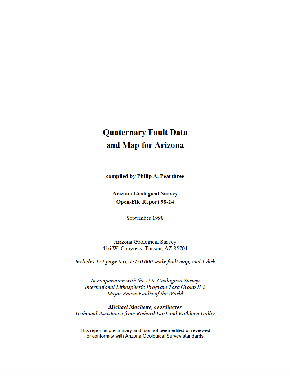 Thumbnail image of document cover: Quaternary Fault Data and Map for Arizona