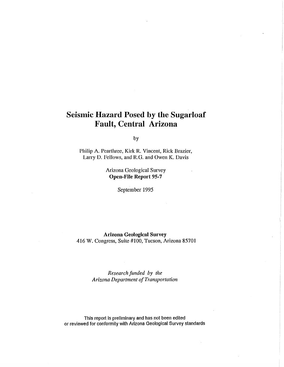 Thumbnail image of document cover: Seismic Hazard Posed by the Sugarloaf Fault, Central Arizona