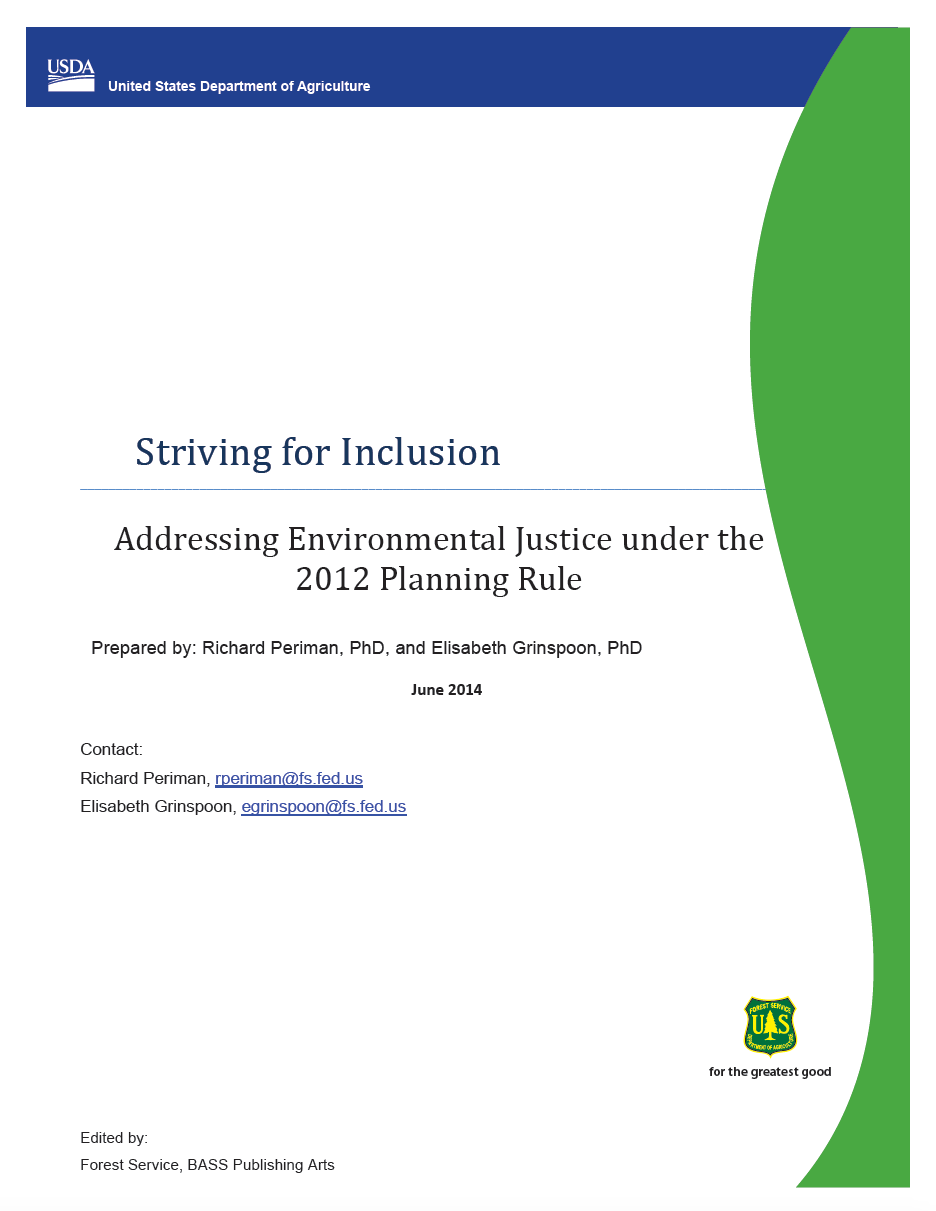 Thumbnail image of document cover: Striving for Inclusion: Addressing Environmental Justice under the 2012 Planning Rule