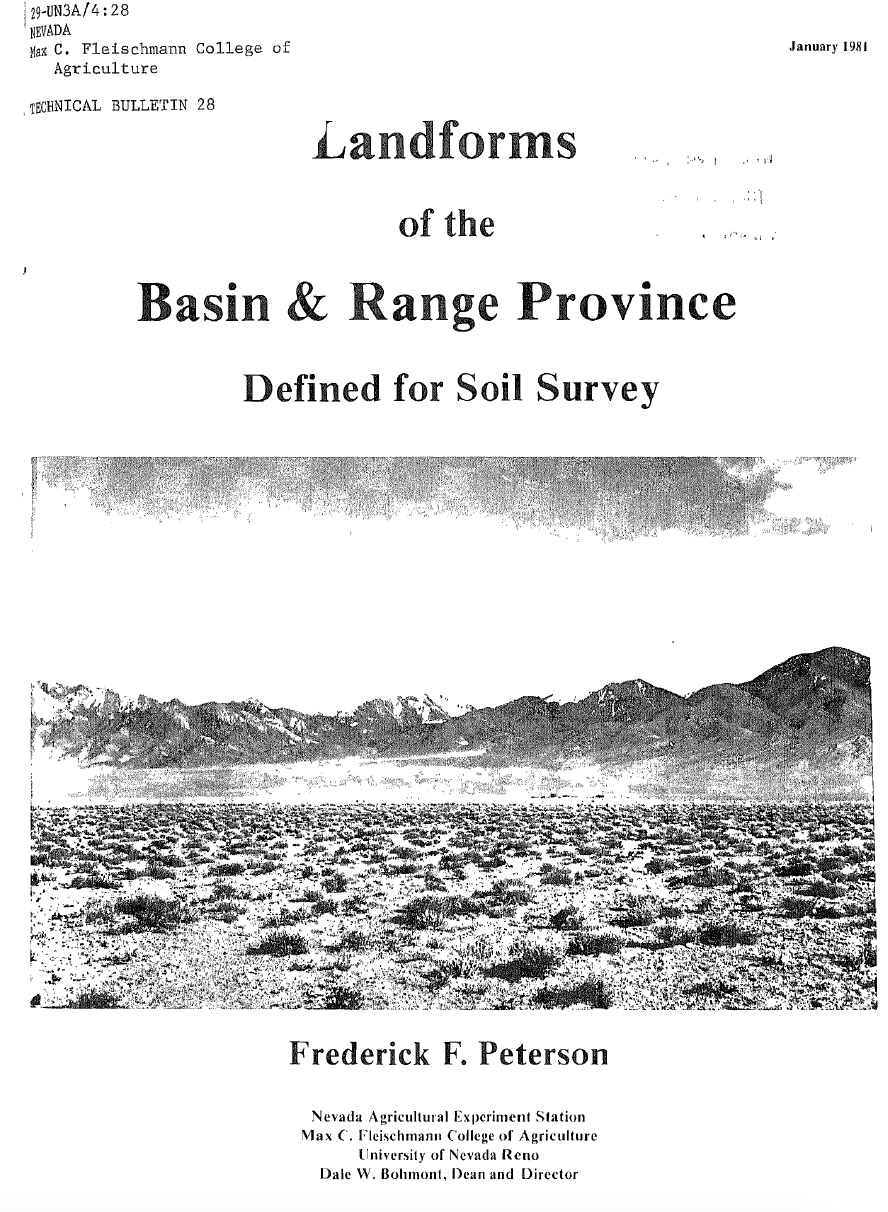 Thumbnail image of document cover: Landforms of the Basin and Range Province: Defined for Soil Survey