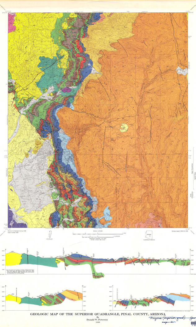 Thumbnail image of document cover: Geologic Map of the Superior Quadrangle, Pinal County, Arizona