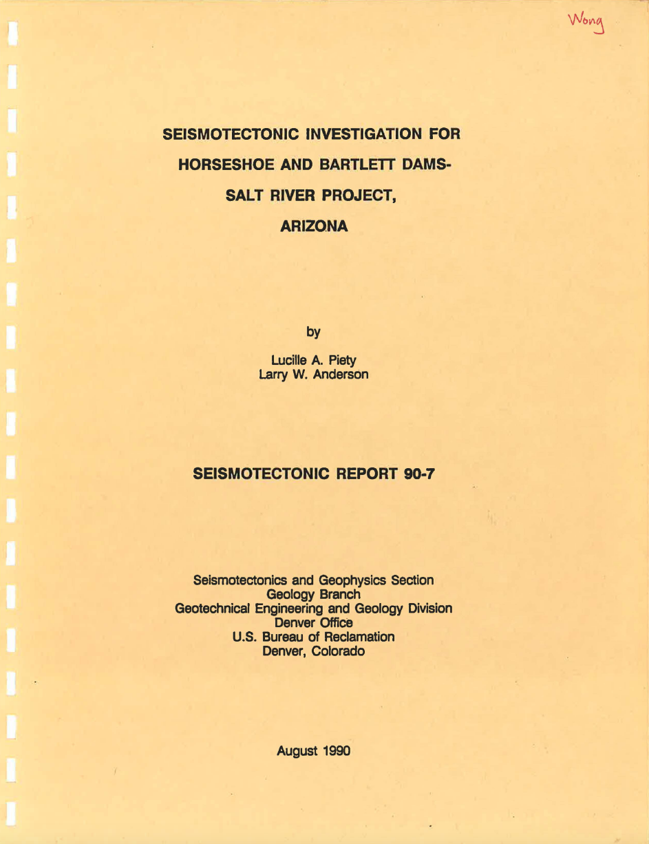 Thumbnail image of document cover: Seismotectonic Investigation for Horseshoe and Bartlett Dams, Salt River Project, Arizona