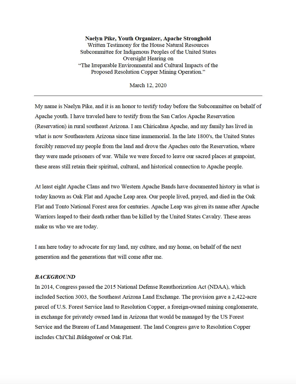 """Thumbnail image of document cover: Written Testimony for the House Natural Resources Subcommittee for Indigenous Peoples of the United States Oversight Hearing on """"The Irreparable Environmental and Cultural Impacts of the Proposed Resolution Copper Mining Operation"""""""