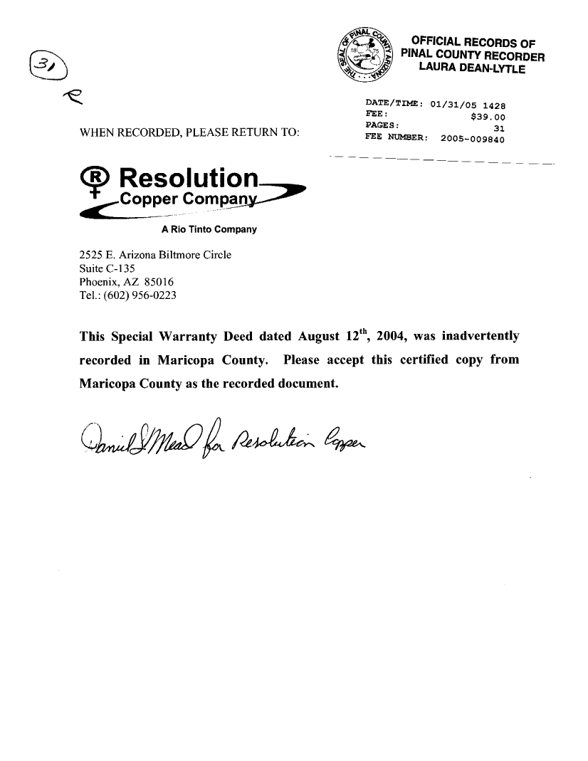 Thumbnail image of document cover: Special Warranty Deed