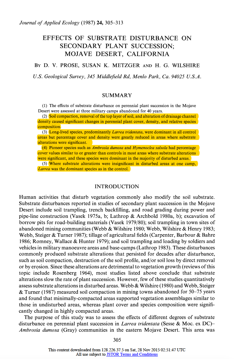 Thumbnail image of document cover: Effects of Substrate Disturbance on Secondary Plan Succession: Mojave Desert, California