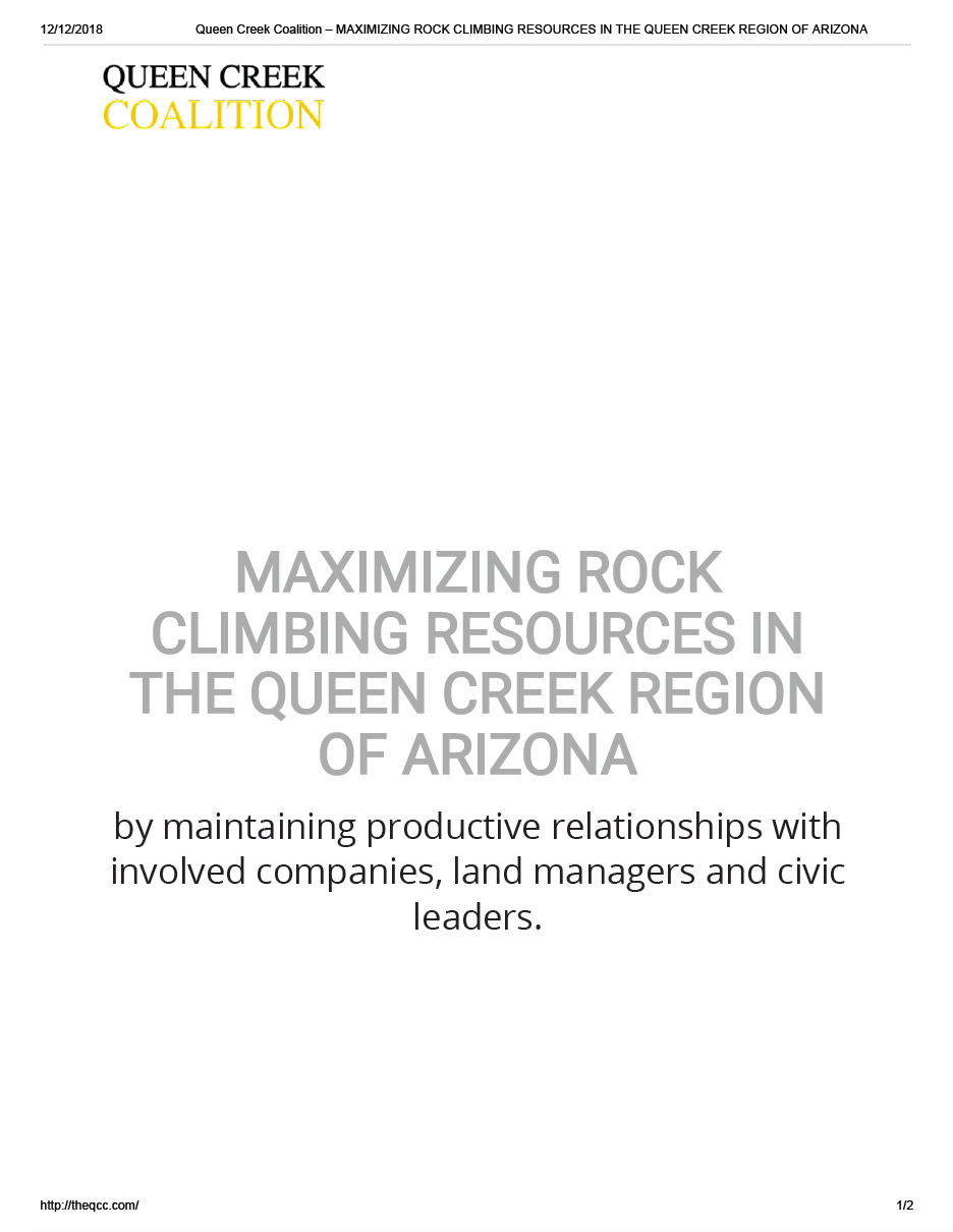 Thumbnail image of document cover: Maximizing Rock Climbing Resources in the Queen Creek Region of Arizona