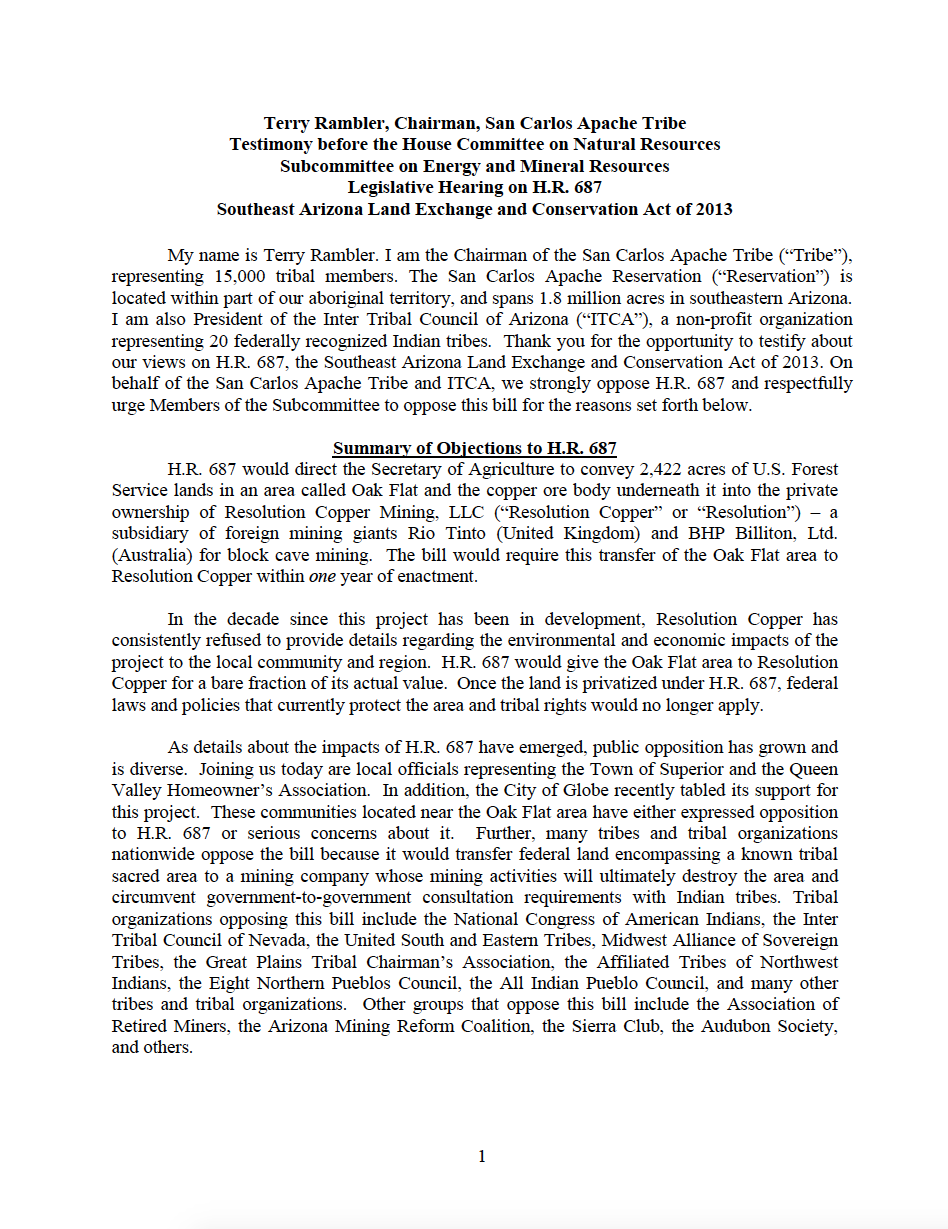 Thumbnail image of document cover: Testimony before the House Committee on Natural Resources, Subcommittee on Energy and Mineral Resources Legislative Hearing on H.R. 687 Southeast Arizona Land Exchange and Conservation Act of 2013