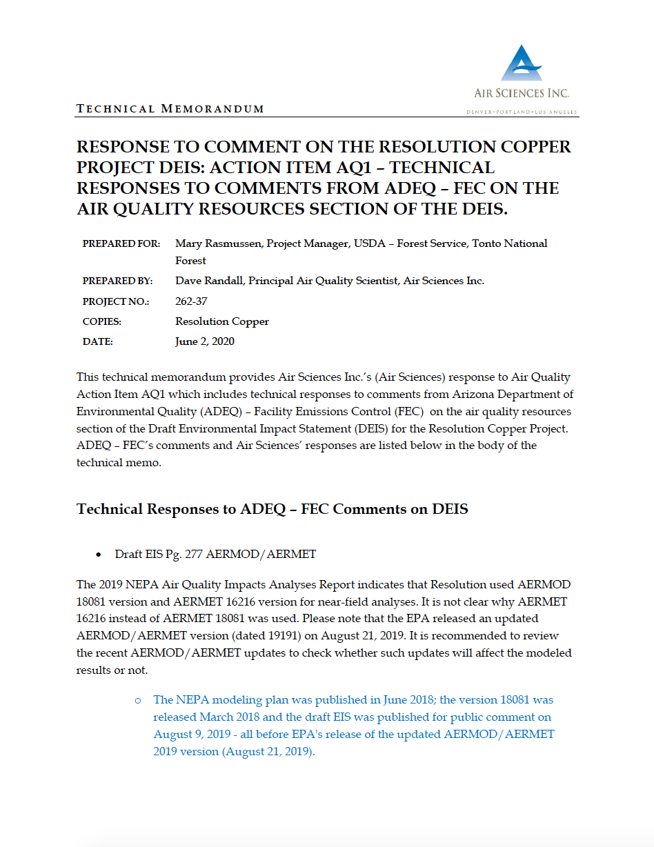 Thumbnail image of document cover: Response to Comment on the Resolution Copper Project DEIS: Action Item AQ1 - Technical Responses to Comments from ADEQ - FEC on the Air Quality Resources Section of the DEIS