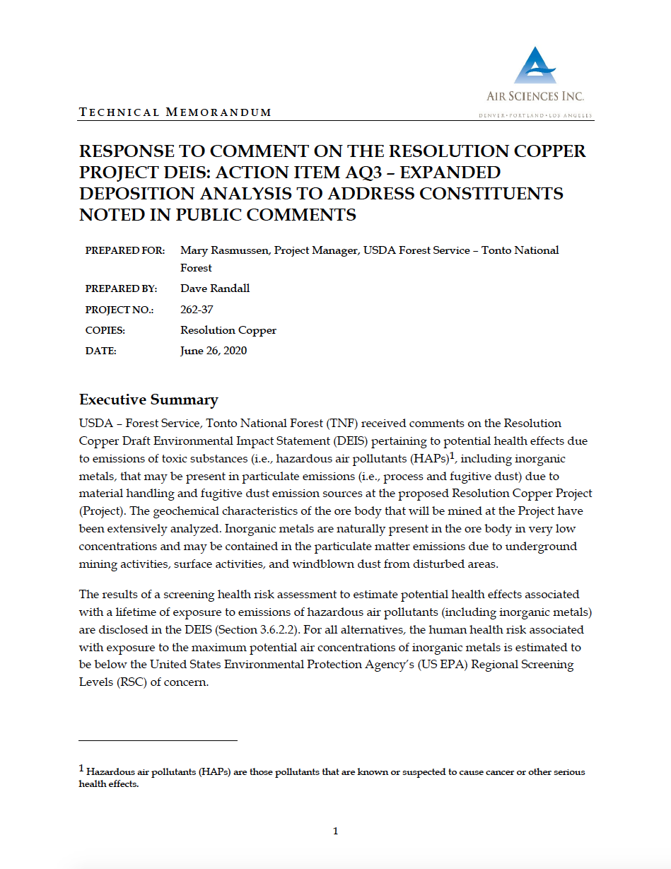 Thumbnail image of document cover: Response to Comment on the Resolution Copper Project DEIS: Action Item AQ3 - Expanded Deposition Analysis to Address Constituents Noted in Public Comments