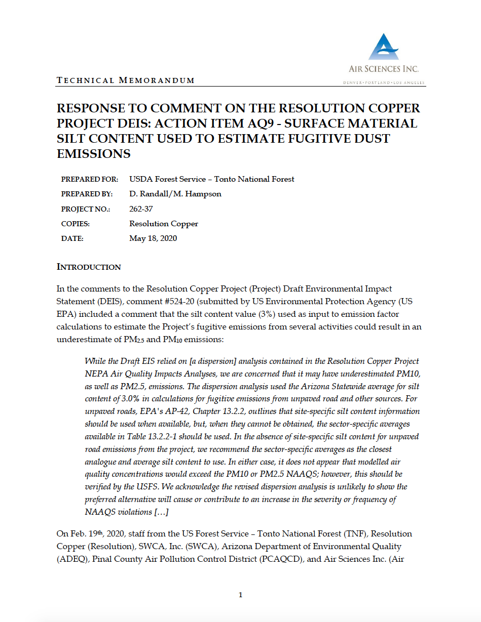 Thumbnail image of document cover: Response to Comment on the Resolution Copper Project DEIS: Action Item AQ9 - Surface Material Silt Content Used to Estimate Fugitive Dust Emissions