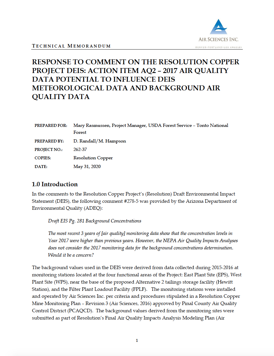 Thumbnail image of document cover: Response to Comment on the Resolution Copper Project DEIS: Action Item AQ2 - 2017 Air Quality Data Potential to Influence DEIS Meteorological Data and Background Air Quality Data