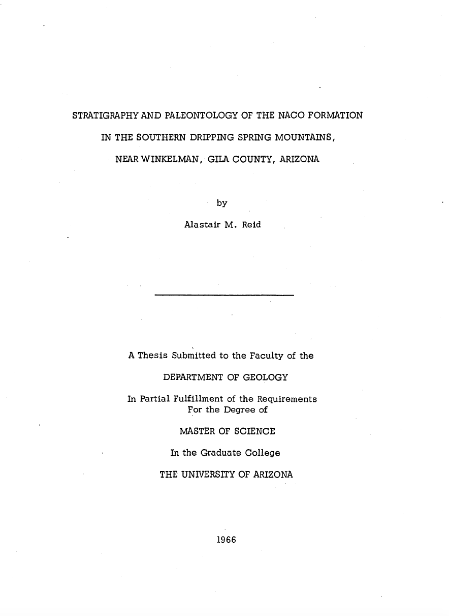 Thumbnail image of document cover: Stratigraphy and Paleontology of the Naco Formation in the Southern Dripping Spring Mountains