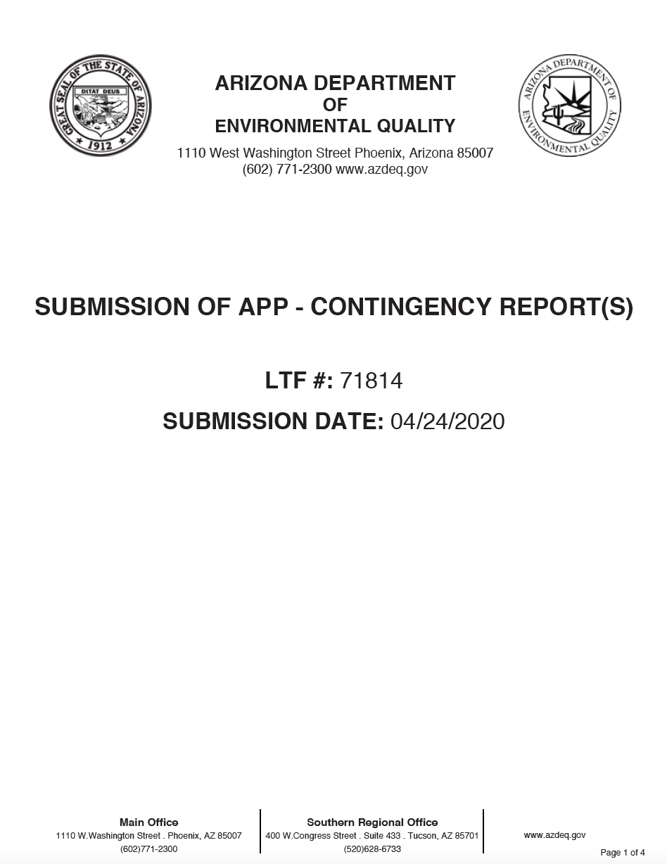Thumbnail image of document cover: Submission of APP - Contingency Report(s)