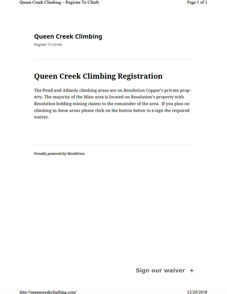 Thumbnail image of document cover: Queen Creek Climbing Registration