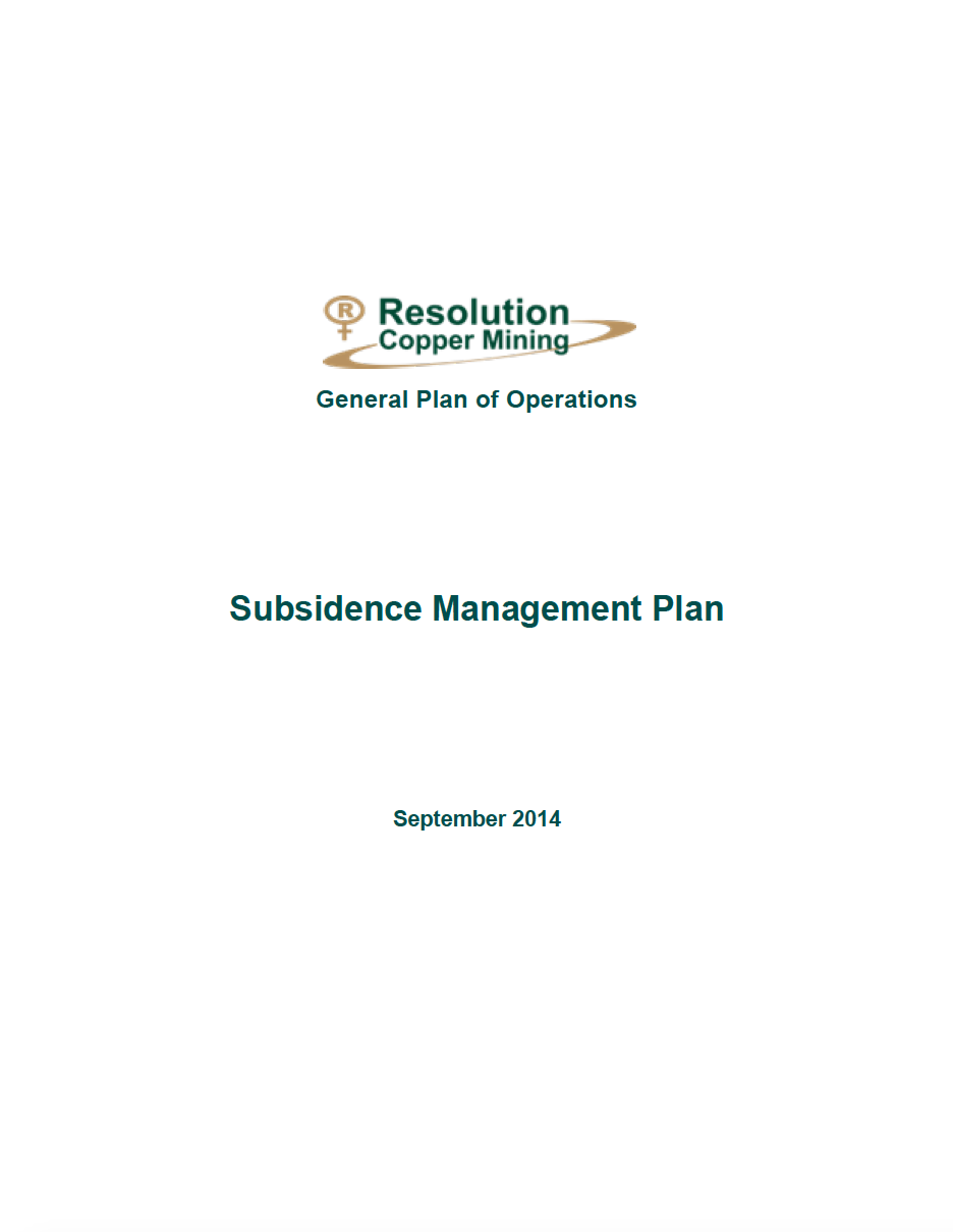 Thumbnail image of document cover: Appendix E: Subsidence Management Plan
