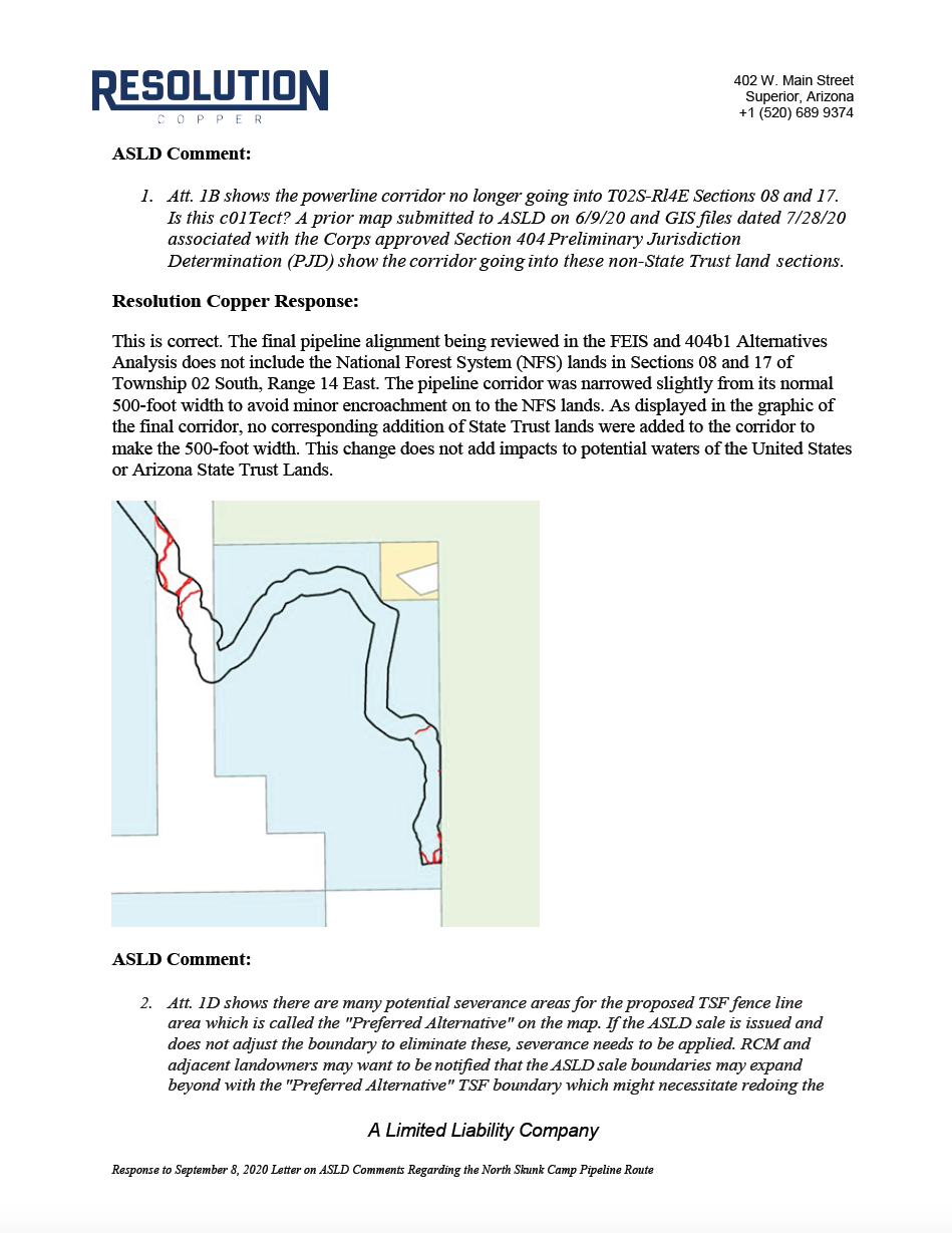 Thumbnail image of document cover: Response to September 8, 2020 Letter on ASLD Comments Regarding the North Skunk Camp Pipeline Route