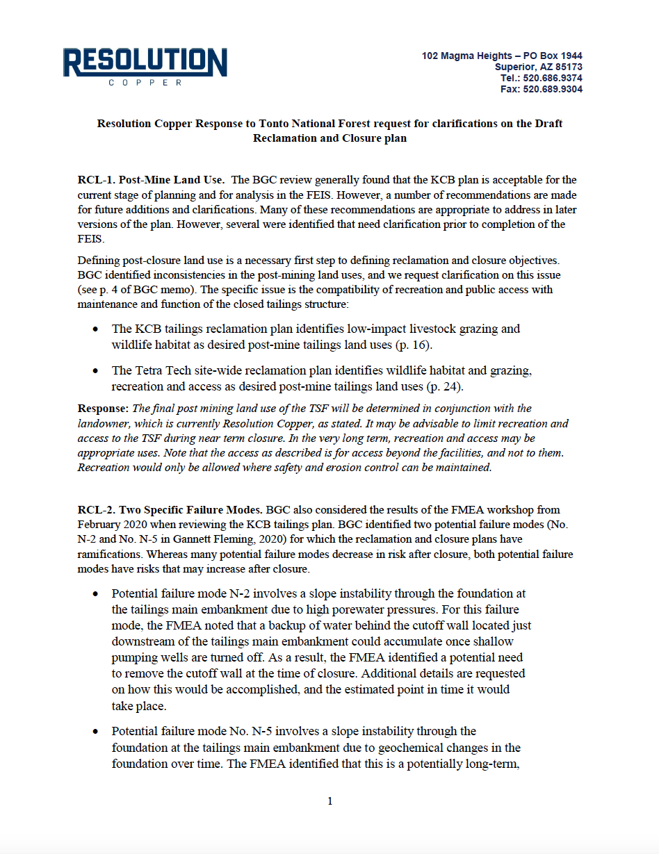 Thumbnail image of document cover: Response to Data Request for Reclamation and Closure Plan Clarifications