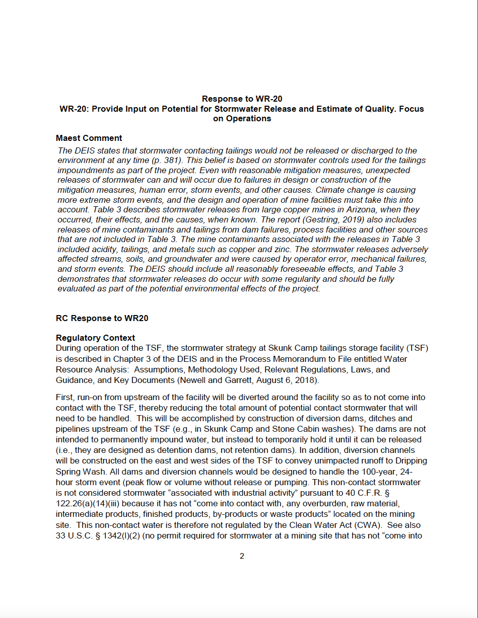 Thumbnail image of document cover: Response to Water Work Group Action Item WR-20