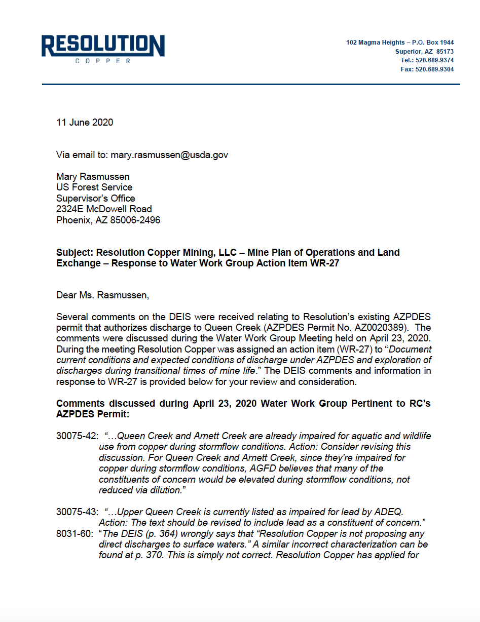 Thumbnail image of document cover: Response to Water Work Group Action Item WR-27