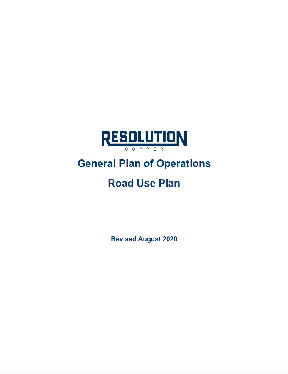 Thumbnail image of document cover: General Plan of Operations: Road Use Plan