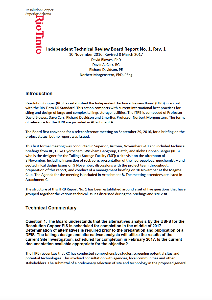 Thumbnail image of document cover: Independent Technical Review Board Report No. 1, Rev. 1