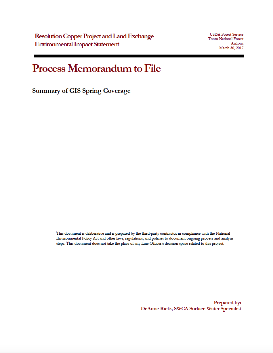 Thumbnail image of document cover: Summary of GIS Spring Coverage