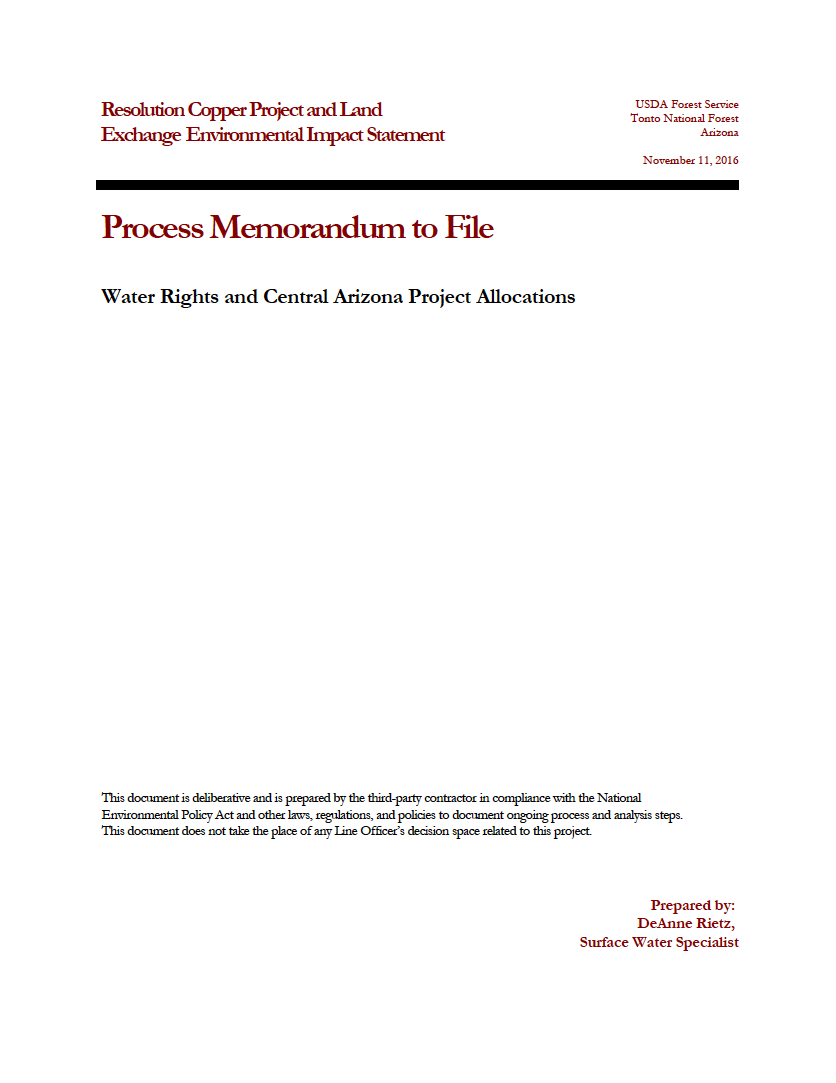 Thumbnail image of document cover: Water Rights and Central Arizona Project Allocations
