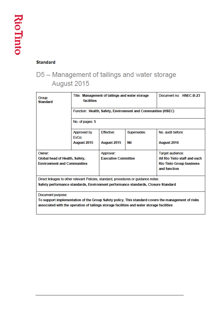 Thumbnail image of document cover: D5 - Management of Tailings and Water Storage
