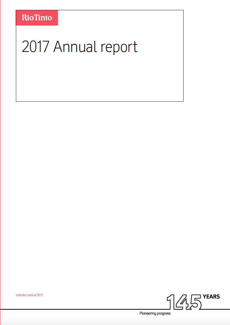 Thumbnail image of document cover: Rio Tinto 2017 Annual Report