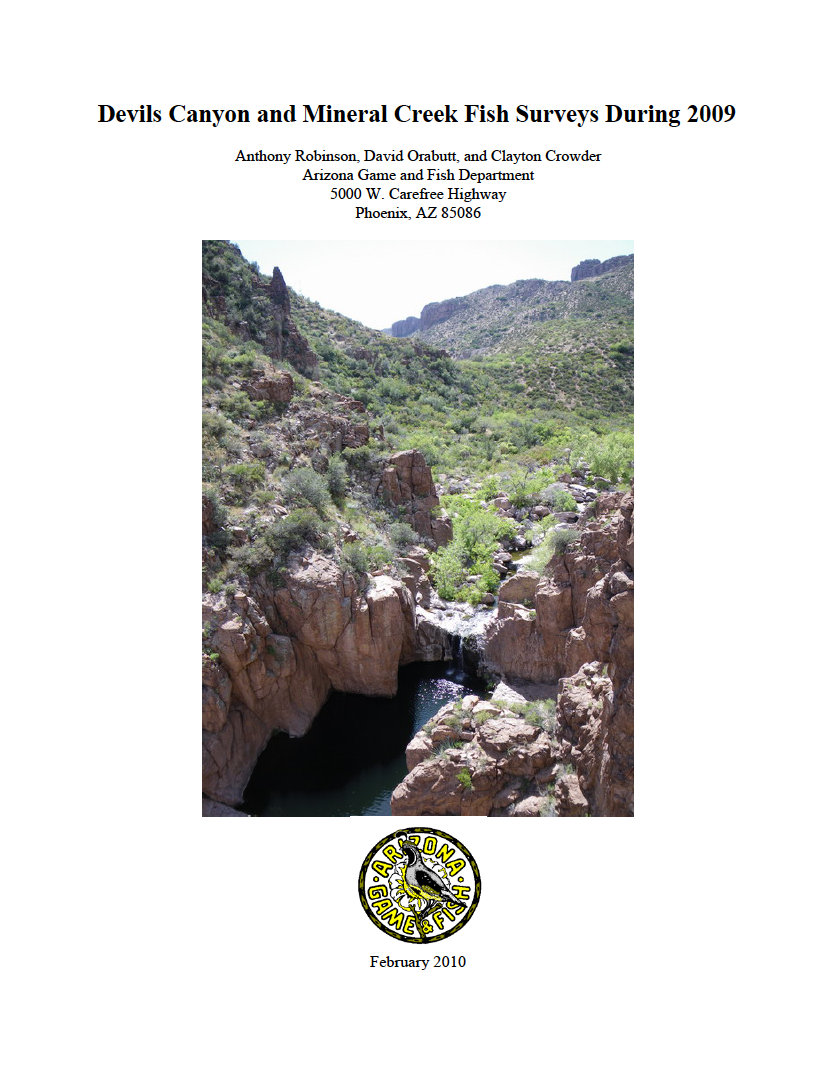 Thumbnail image of document cover: Devils Canyon and Mineral Creek Fish Surveys During 2009