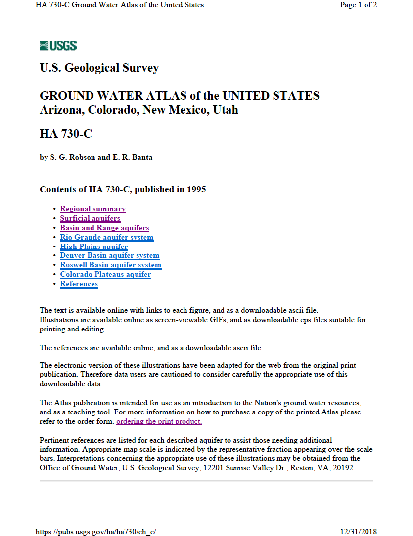 Thumbnail image of document cover: Ground Water Atlas of the United States, Arizona, Colorado, New Mexico, Utah