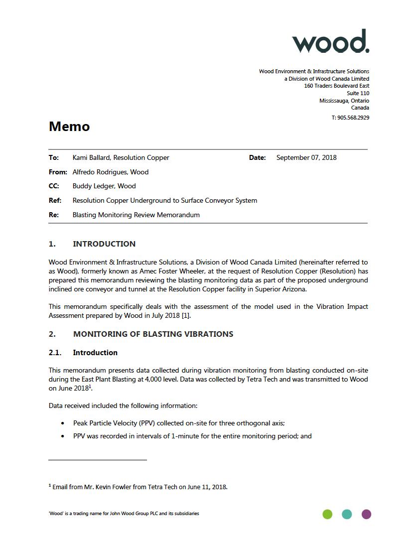 Thumbnail image of document cover: Blasting Monitoring Review Memorandum