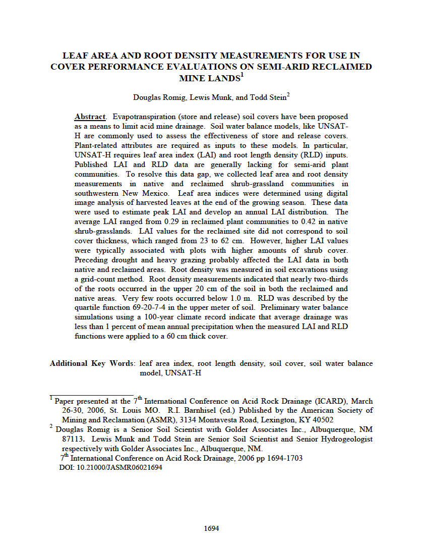 Thumbnail image of document cover: Leaf Area and Root Density Measurements for Use in Cover Performance Evaluations on Semi-Arid Reclaimed Mine Lands