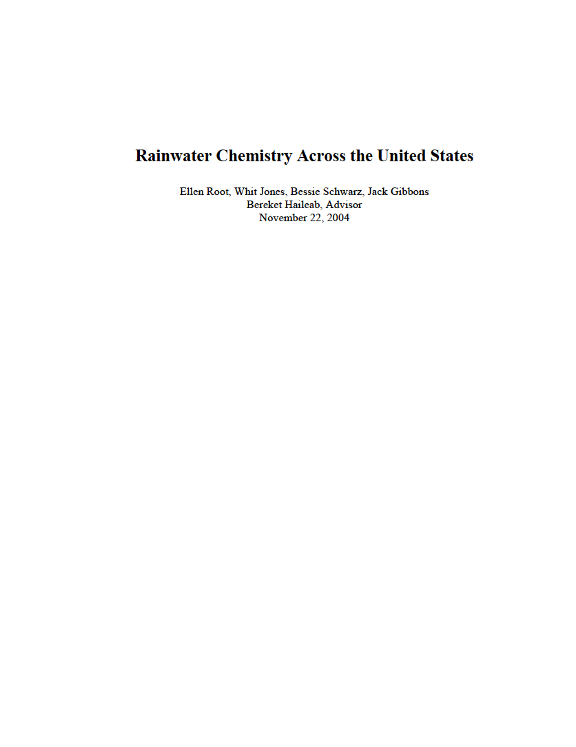 Thumbnail image of document cover: Rainwater Chemistry Across the United States