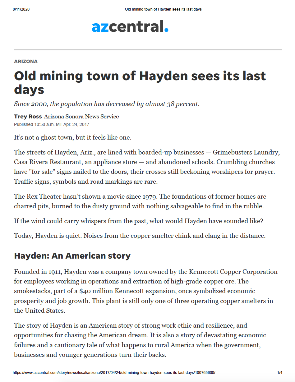 Thumbnail image of document cover: Old Mining Town of Hayden Sees its Last Days