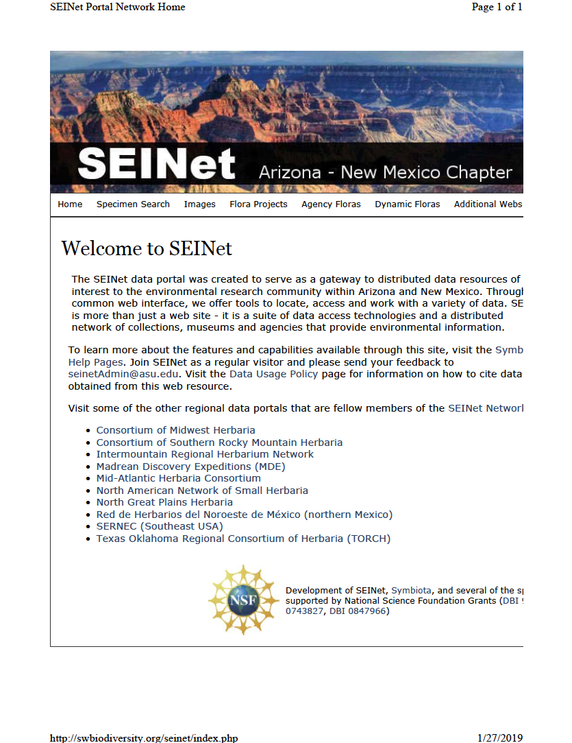 Thumbnail image of document cover: Welcome to SEINet: Arizona - New Mexico Chapter