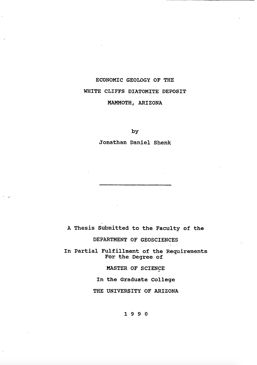 Thumbnail image of document cover: Economic Geology of the White Cliffs Diatomite Deposit, Mammoth, Arizona