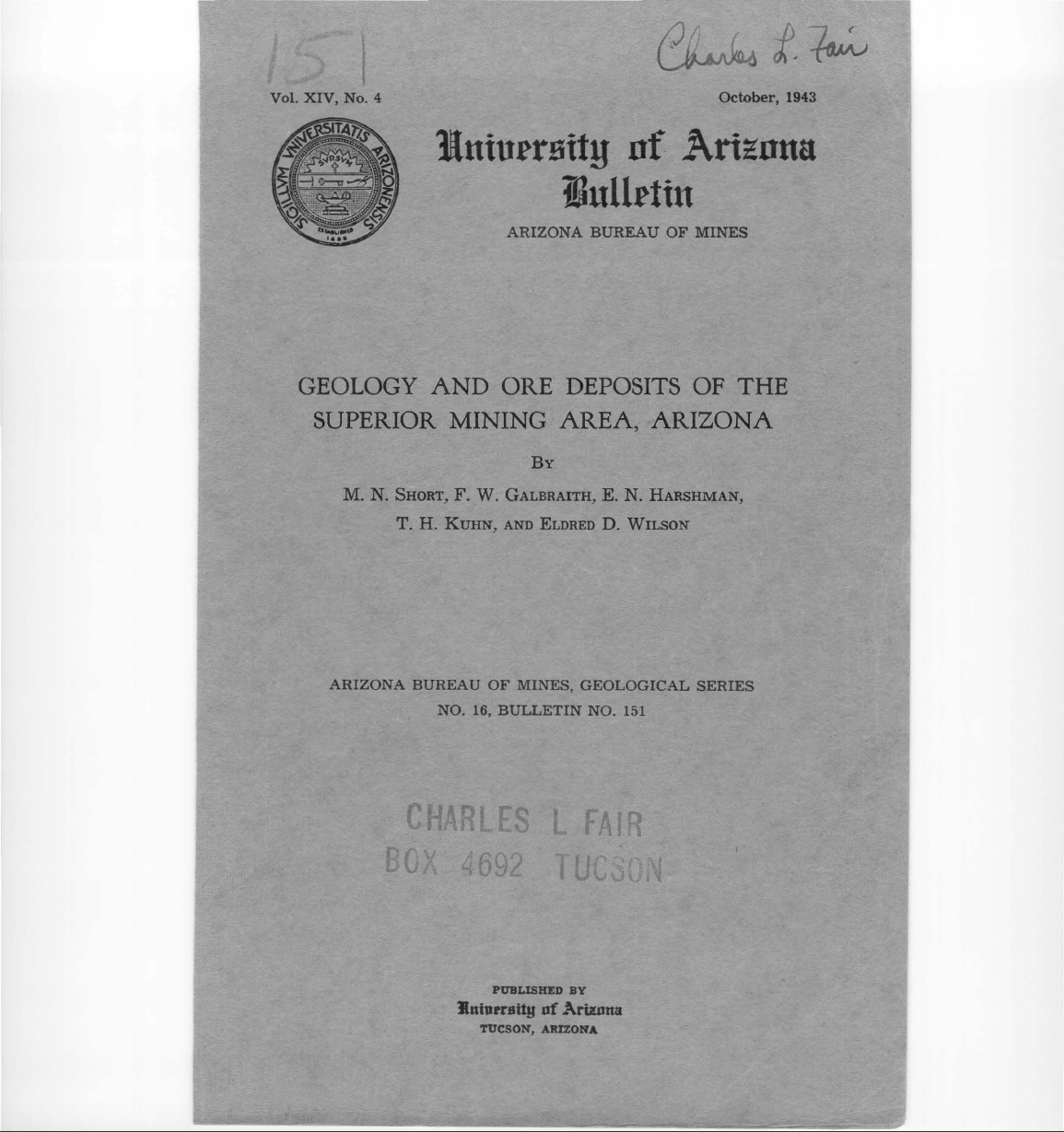Thumbnail image of document cover: Geology and Ore Deposits of the Superior Mining Area, Arizona