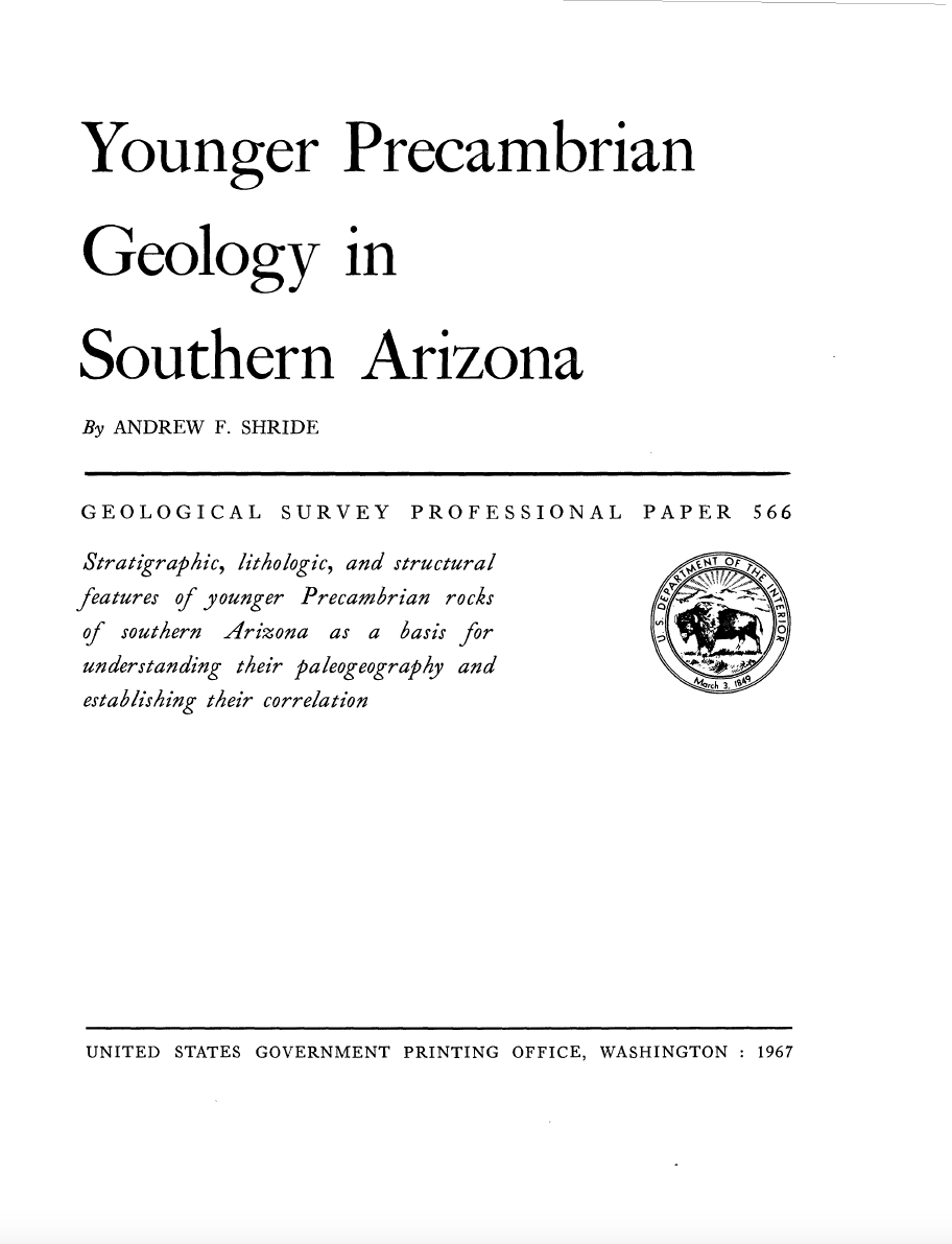 Thumbnail image of document cover: Younger Precambrian Geology in Southern Arizona