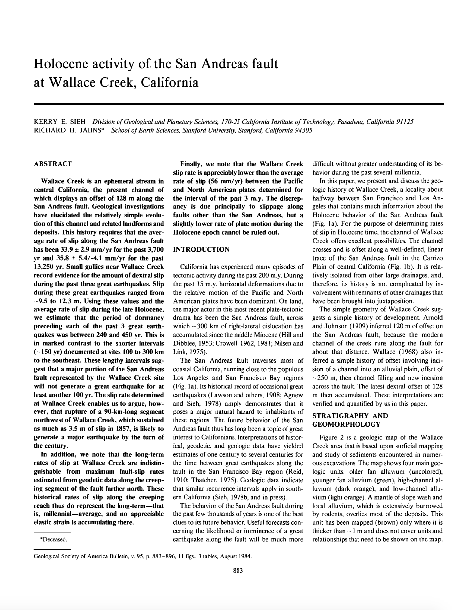 Thumbnail image of document cover: Holocene Activity of the San Andreas Fault at Wallace Creek, California