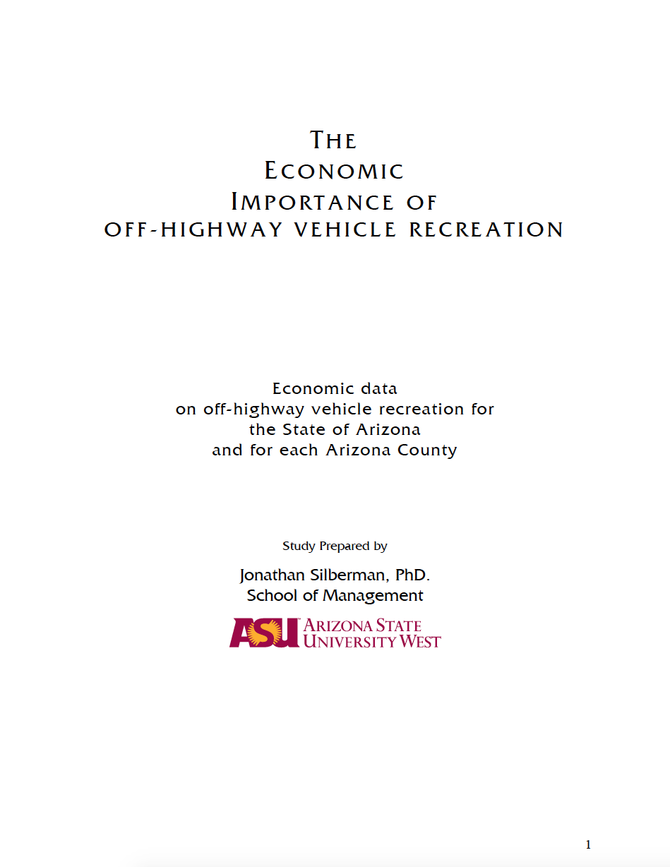 Thumbnail image of document cover: The Economic Importance of Off-Highway Vehicle Recreation: Economic Data on Off-Highway Vehicle Recreation for the State of Arizona and each Arizona County