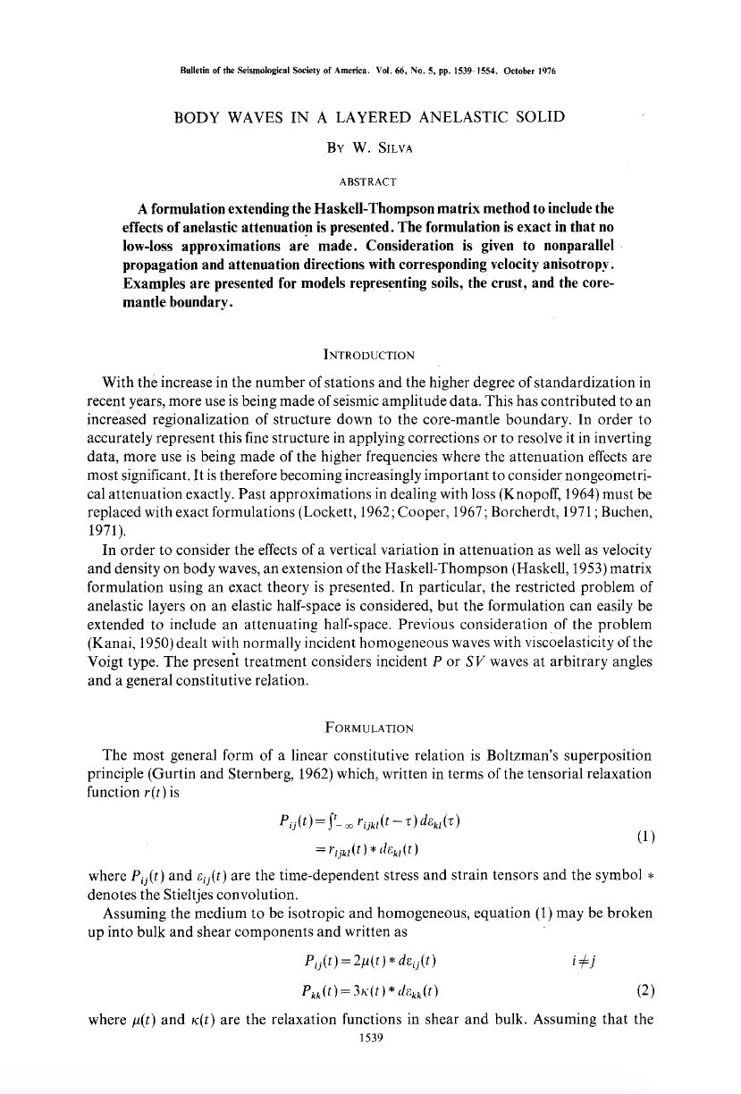 Thumbnail image of document cover: Body Waves in a Layered Anelastic Solid